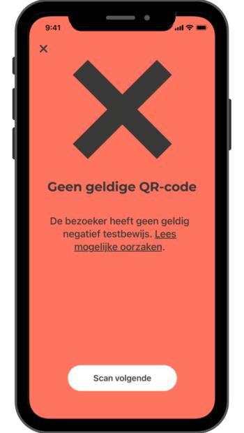 CoronaCheck App geen geldige QR code